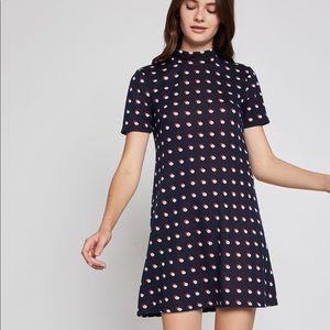BCBG Polka Dot Turtle Neck A-Line Dress
